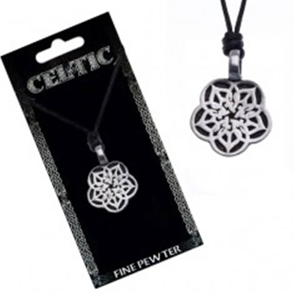 Šperky eshop Náhrdelník so šnúrkou - čierny, kovový prívesok, keltský kvet