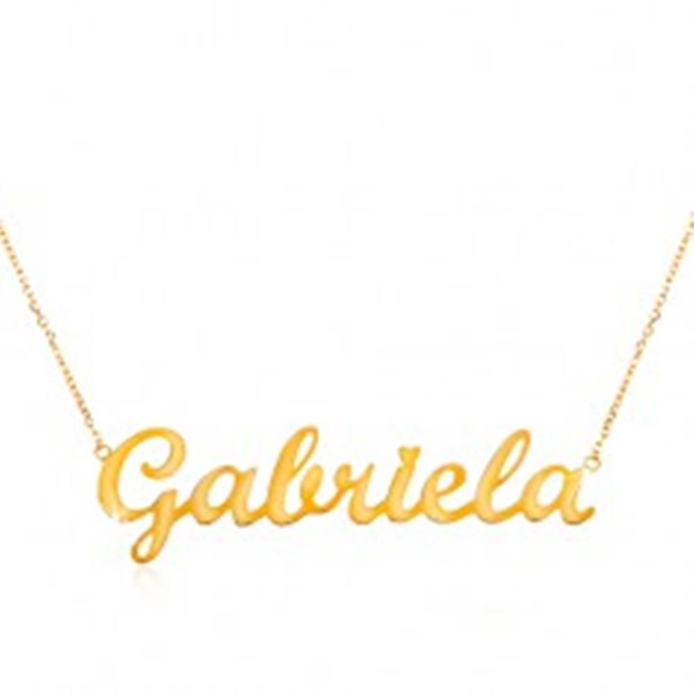 Šperky eshop Náhrdelník v žltom zlate 585 - jemná retiazka, lesklý prívesok Gabriela