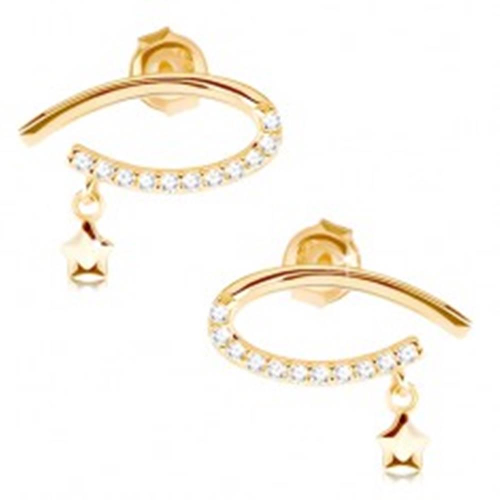 Šperky eshop Náušnice v žltom 9K zlate - kontúra ležiacej kvapky s čírymi zirkónmi, hviezdička