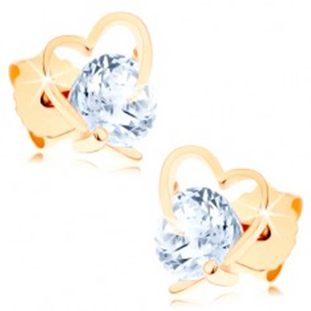 Šperky eshop Náušnice v žltom 9K zlate - kontúra nepravidelného srdca, veľký číry zirkón