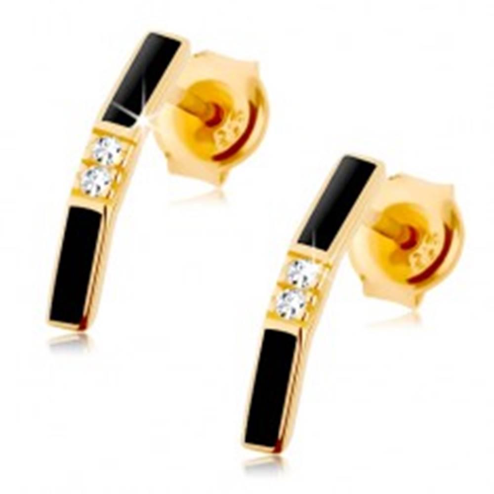 Šperky eshop Náušnice v žltom zlate 375 - zalomený pásik s čiernou glazúrou, číre zirkóny