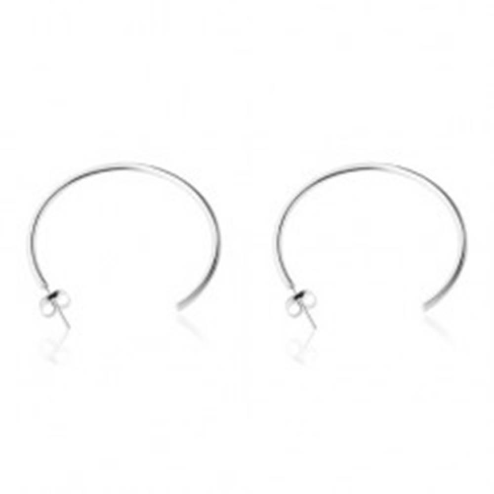 Šperky eshop Náušnice z ocele 316L, strieborná farba, lesklý neúplný kruh, puzetky