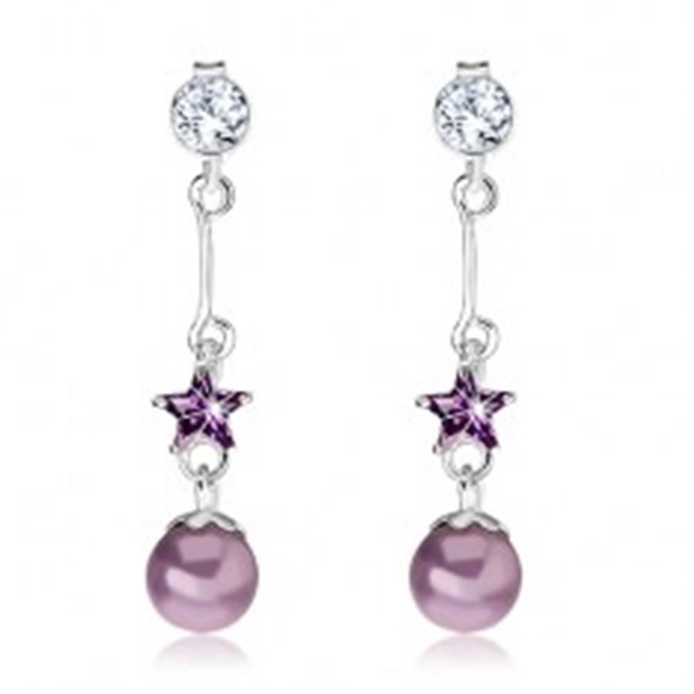 Šperky eshop Náušnice zo striebra 925, číry zirkón, visiaca fialová hviezdička a perla