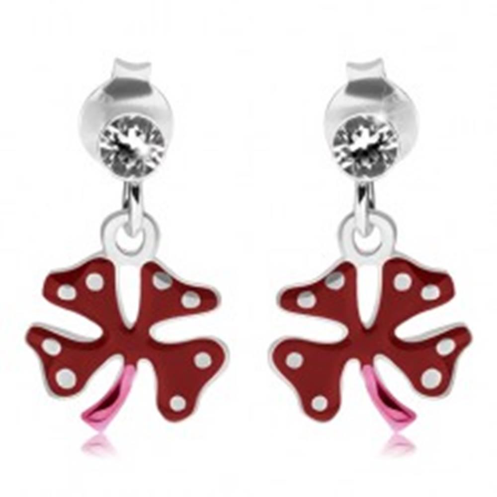Šperky eshop Náušnice zo striebra 925, číry zirkónik, červeno-ružový štvorlístok