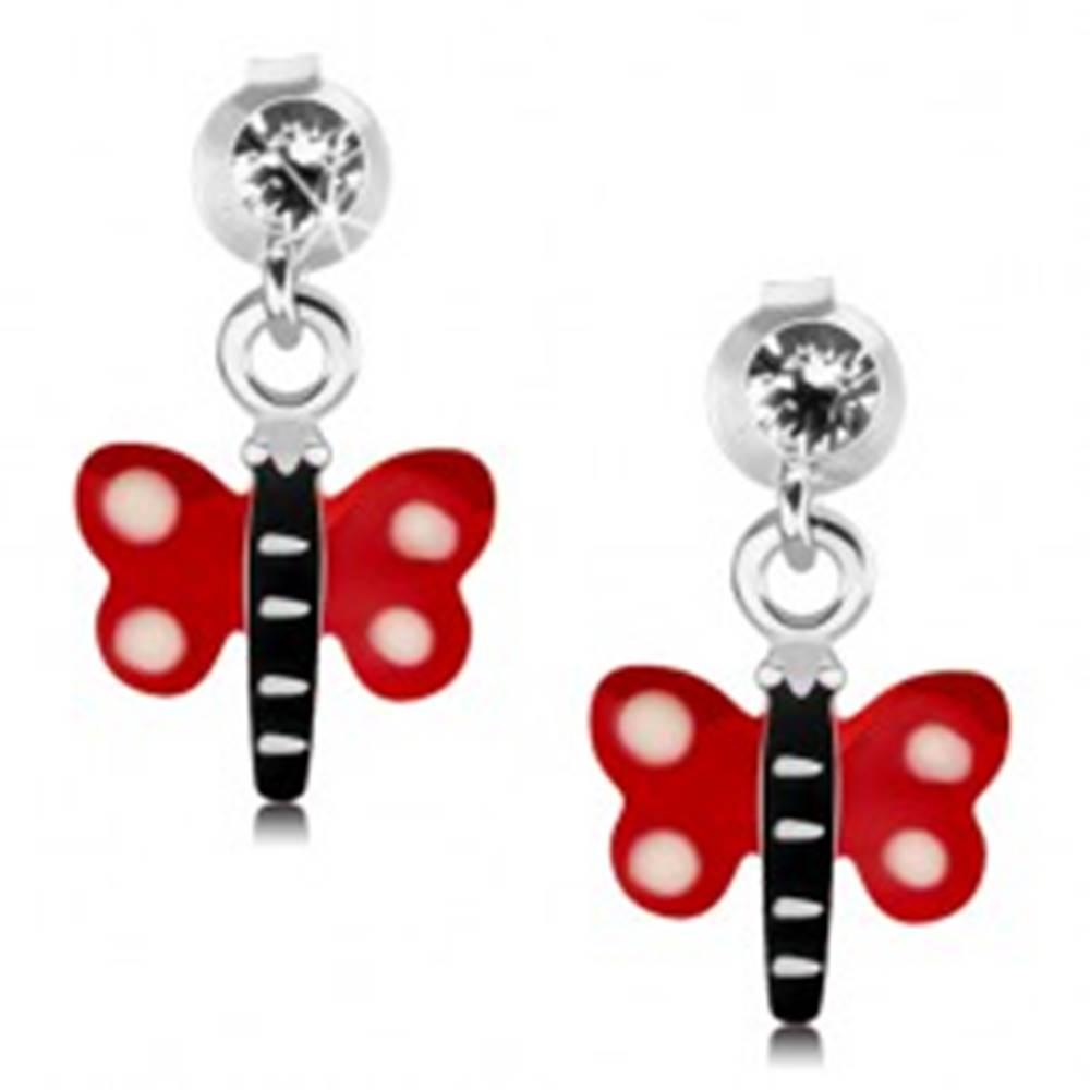 Šperky eshop Náušnice zo striebra 925, motýľ s červenými krídlami a bielymi bodkami, krištáľ
