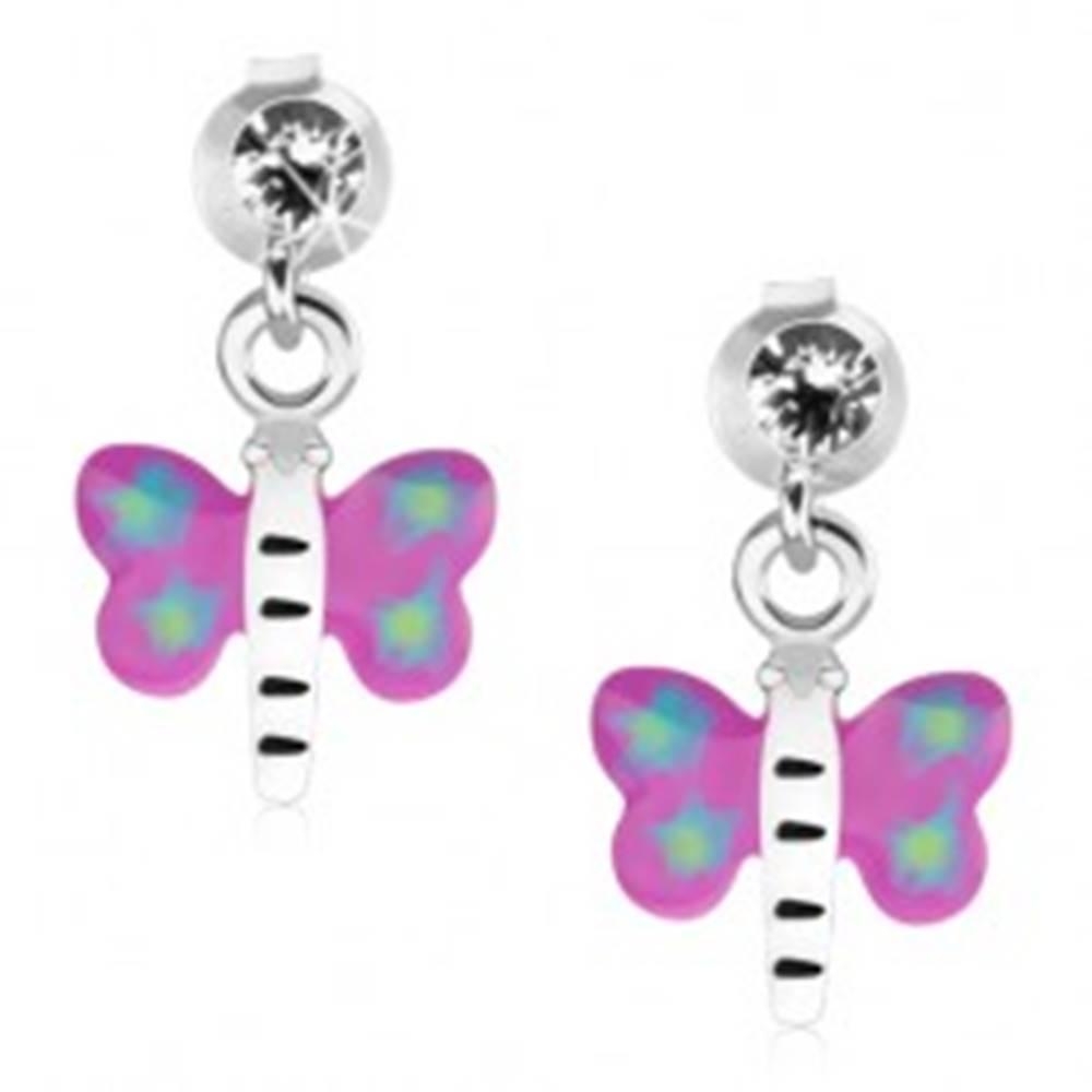 Šperky eshop Náušnice zo striebra 925, motýľ s fialovo-modrými krídlami a bielym telom