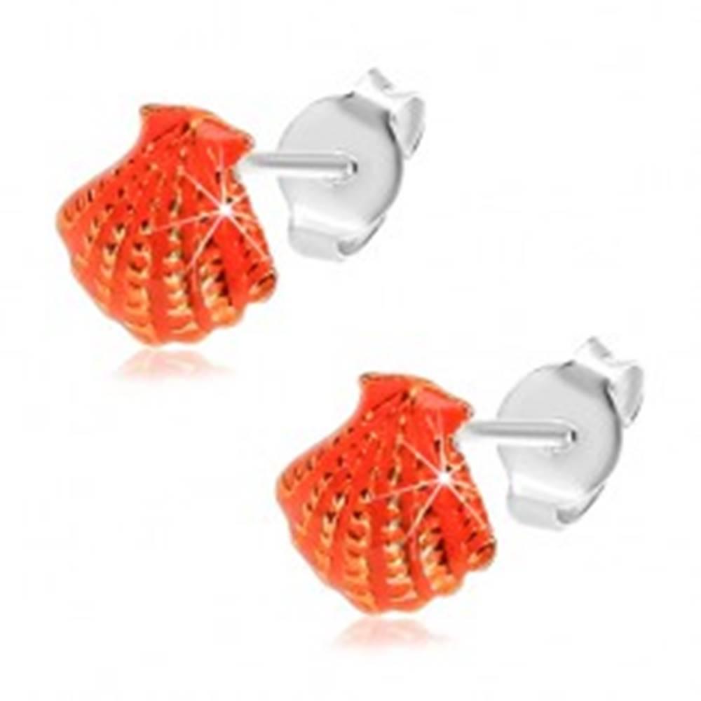 Šperky eshop Náušnice zo striebra 925, oranžová glazúrovaná mušla so zárezmi