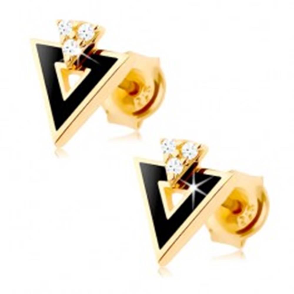 Šperky eshop Náušnice zo žltého 9K zlata - čierny trojuholník s výrezom, číre zirkóniky
