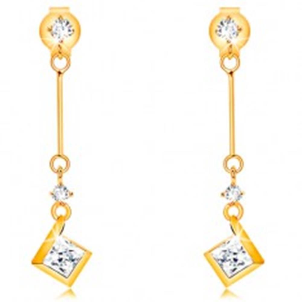 Šperky eshop Náušnice zo žltého 9K zlata - číre zirkóny, tenká palička s ligotavým štvorčekom
