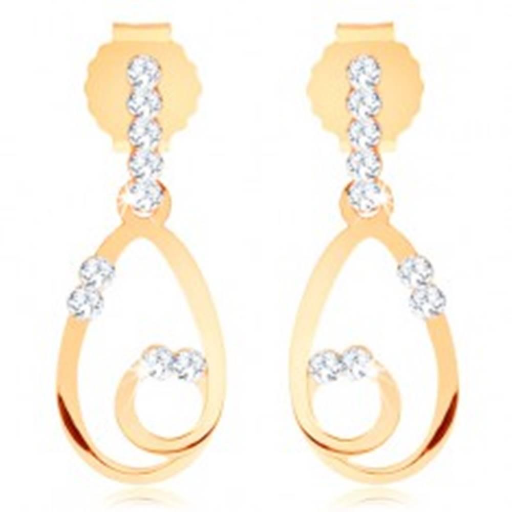 Šperky eshop Náušnice zo žltého 9K zlata, tenký obrys kvapky so slučkou, číre zirkóniky