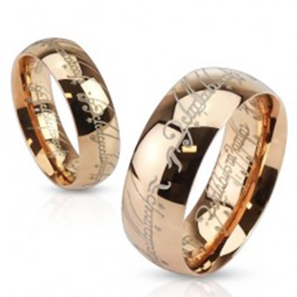 Šperky eshop Oceľová obrúčka medenej farby, gravírovaný nápis, motív Pána Prsteňov - Veľkosť: 49 mm