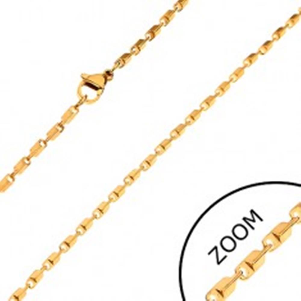Šperky eshop Oceľová retiazka zlatej farby - lesklé skosené hranaté články, 2 mm