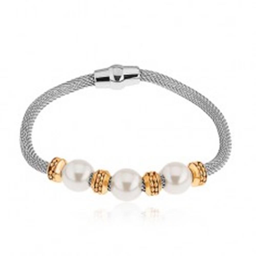 Šperky eshop Oceľový náramok, perleťové korálky, kolieska v zlatej farbe, sieťovaná retiazka