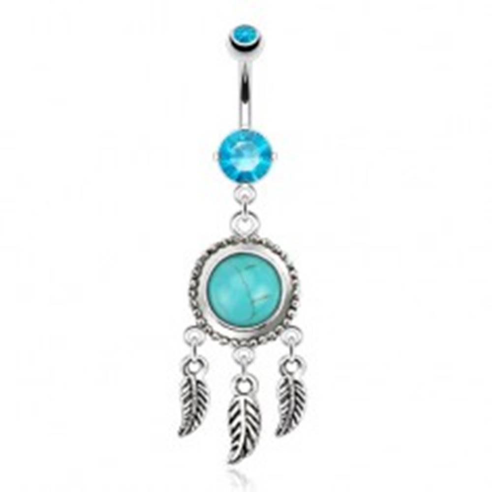 Šperky eshop Oceľový piercing do brucha, lapač snov s tyrkysovým kamienkom, pierka