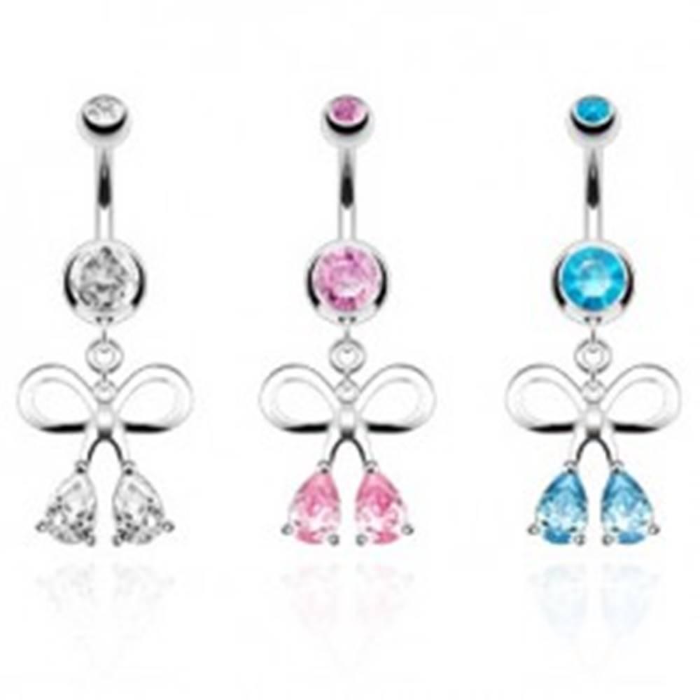 Šperky eshop Oceľový piercing do pupka, strieborná farba, kontúra mašle, zirkónové kvapky - Farba zirkónu: Aqua modrá - Q