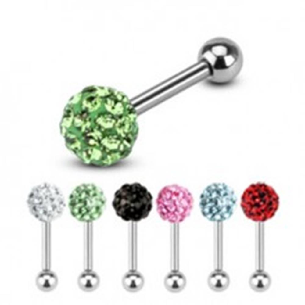 Šperky eshop Oceľový piercing do tragusu, dve guličky, jedna zdobená farebnými zirkónmi - Farba zirkónu: Aqua modrá - Q