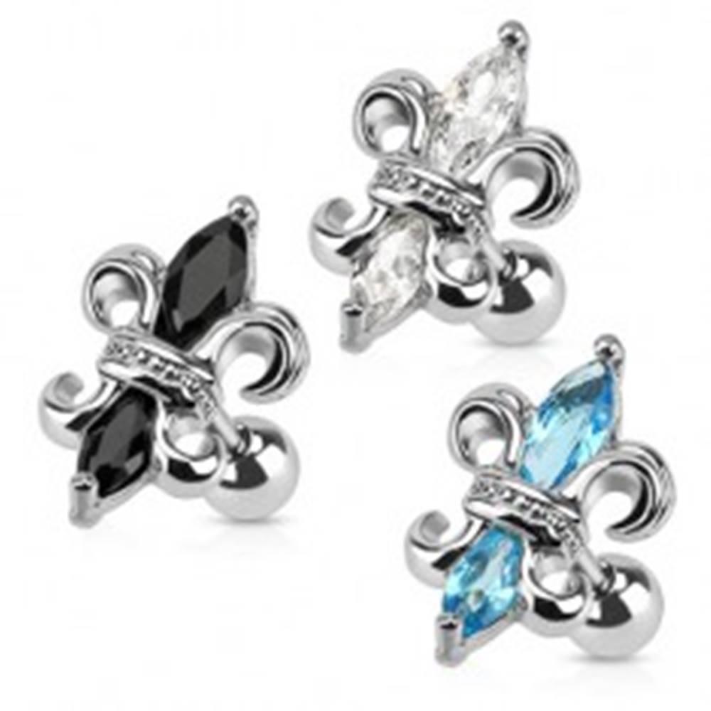 Šperky eshop Oceľový piercing do tragusu, kráľovská ľalia, zirkóny - Farba zirkónu: Aqua modrá - Q