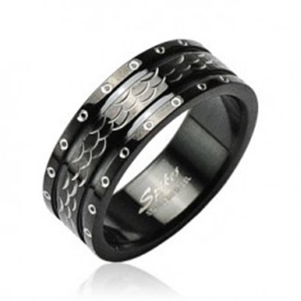 Šperky eshop Oceľový prsteň vlnky - krúžky po obvode - Veľkosť: 58 mm