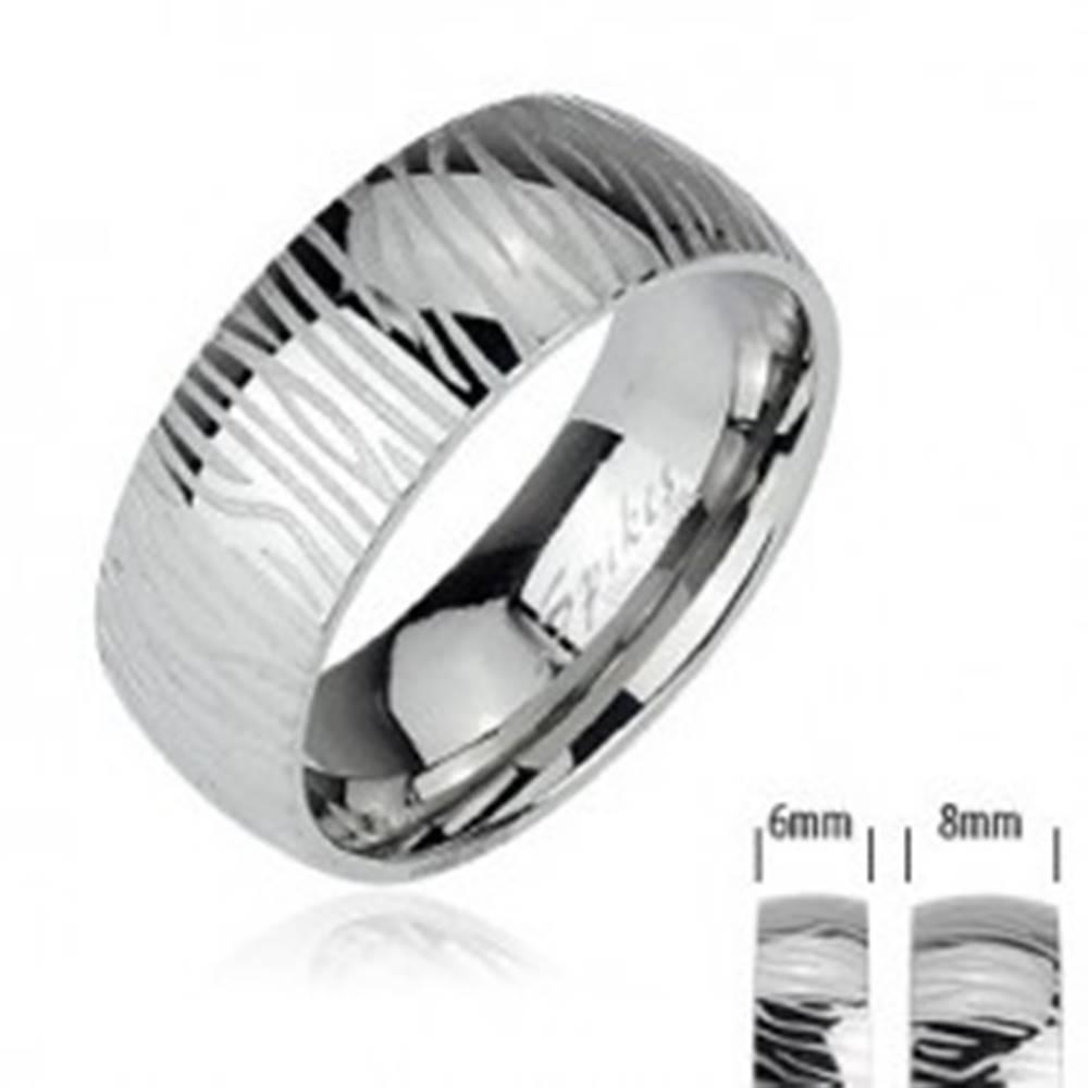 Šperky eshop Oceľový prsteň - vzor zebra - Veľkosť: 49 mm