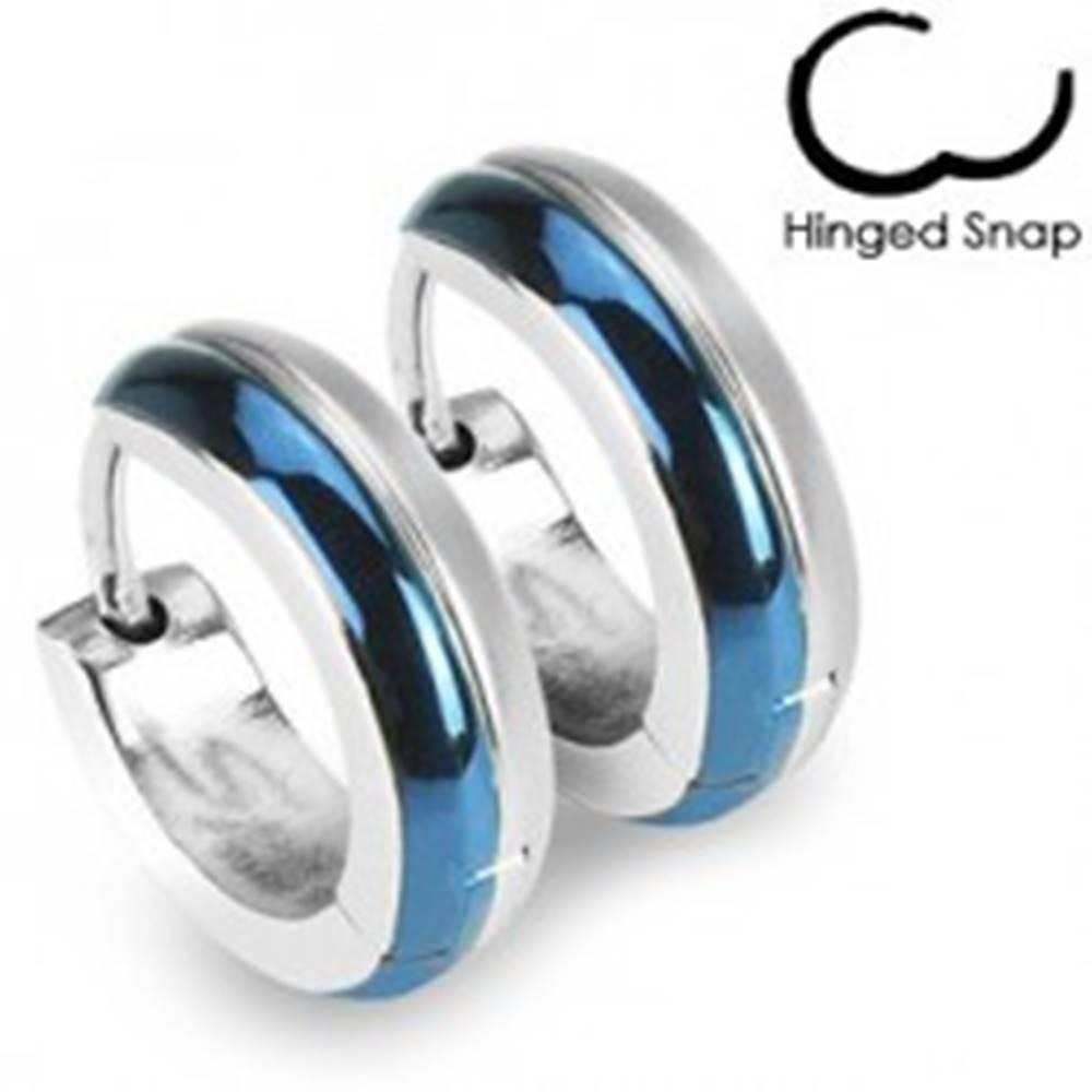 Šperky eshop Okrúhle oceľové náušnice - kombinácia modrej a striebornej farby