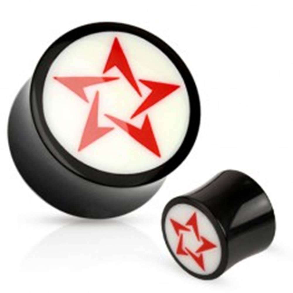 Šperky eshop Okrúhly čierno-biely plug do ucha z prírodného materiálu, červená hviezda - Hrúbka: 10 mm