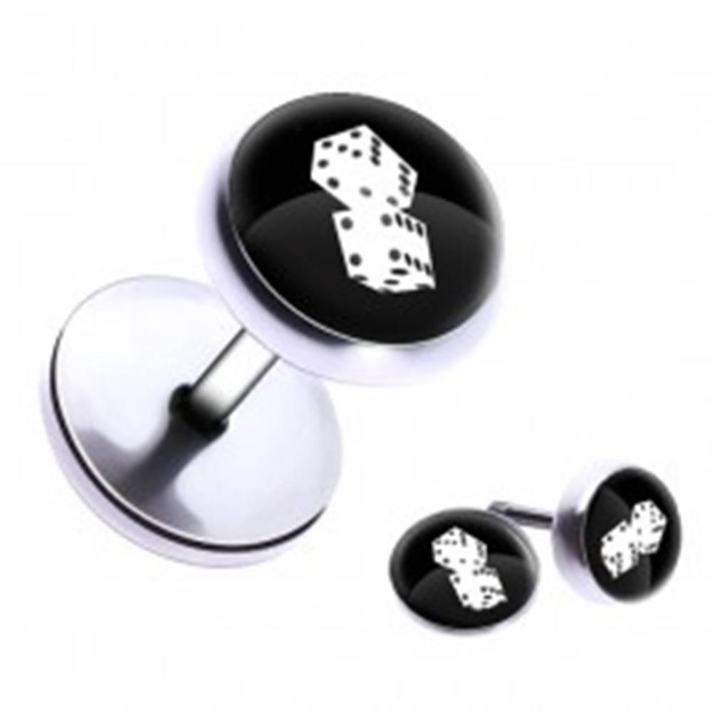 Šperky eshop Okrúhly fake plug do ucha z ocele - hracie kocky, glazúra