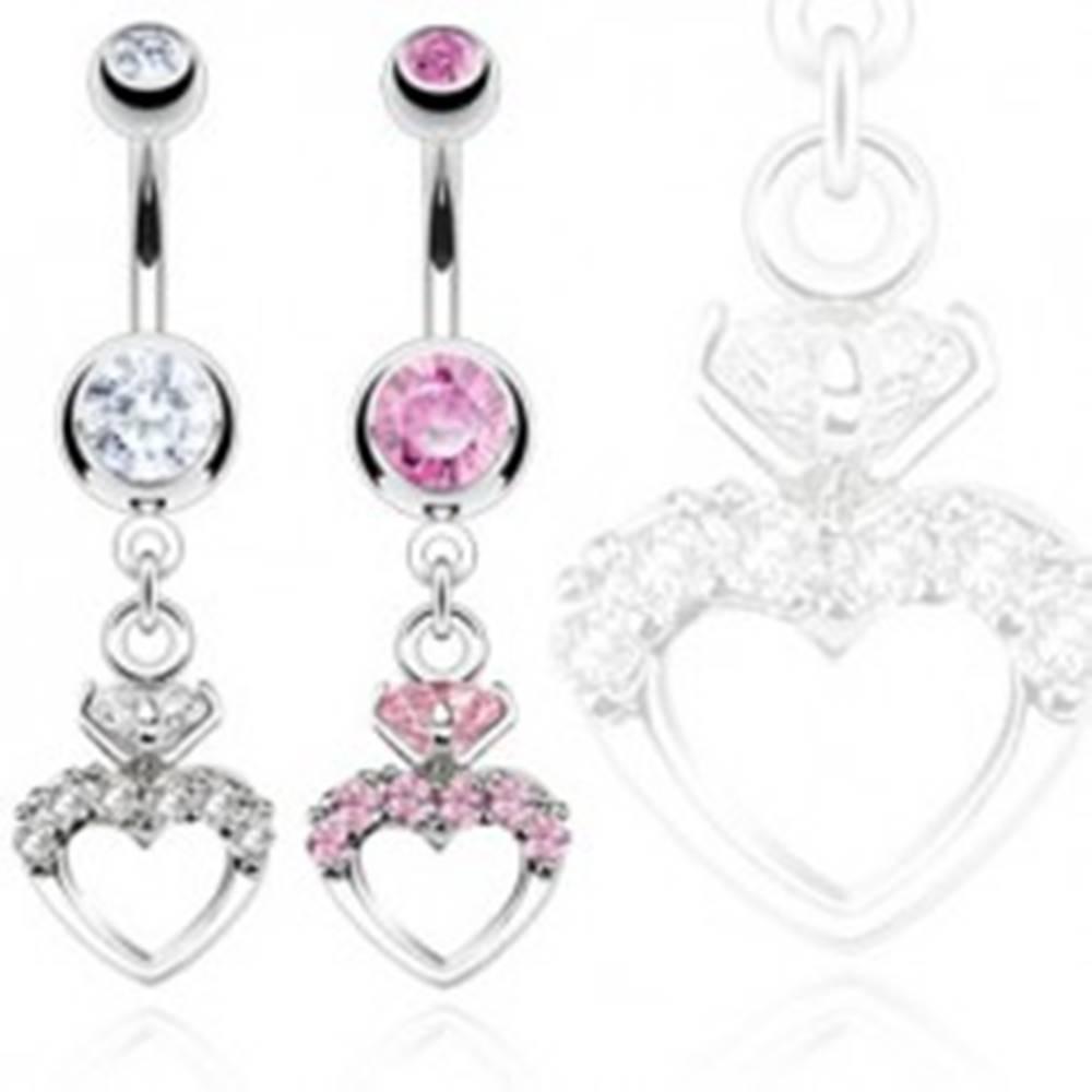 Šperky eshop Piercing do bruška z chirurgickej ocele, symetrický obrys srdca so zirkónmi - Farba: Číra