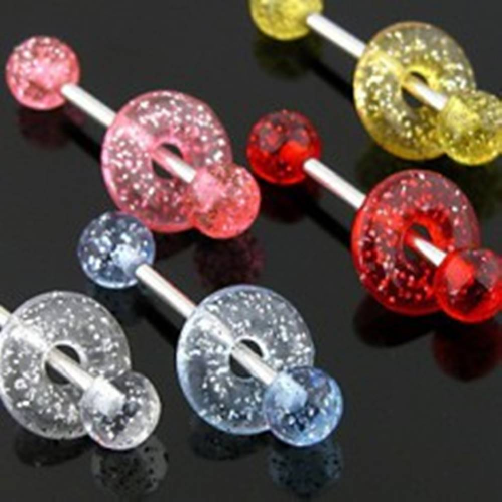 Šperky eshop Piercing do jazyka glitrová hlavička a koliesko - Farba piercing: Červená