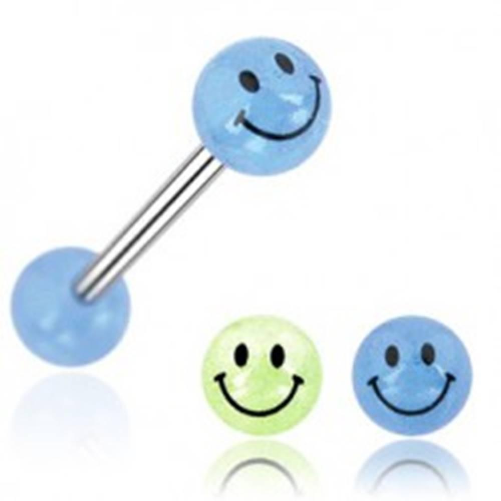 Šperky eshop Piercing do jazyka gulička úsmev - Farba piercing: Modrá