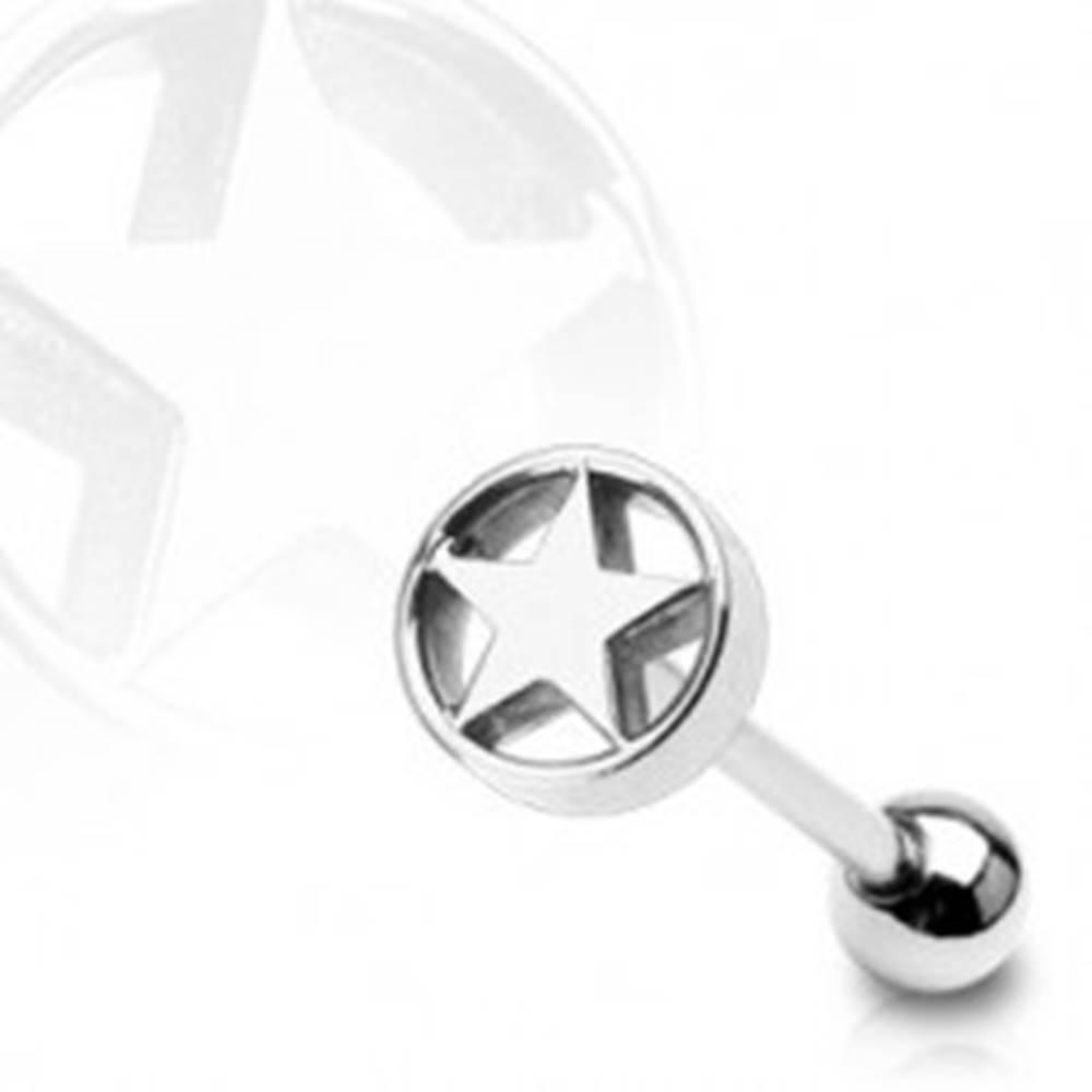 Šperky eshop Piercing do jazyka Hviezda v kruhu