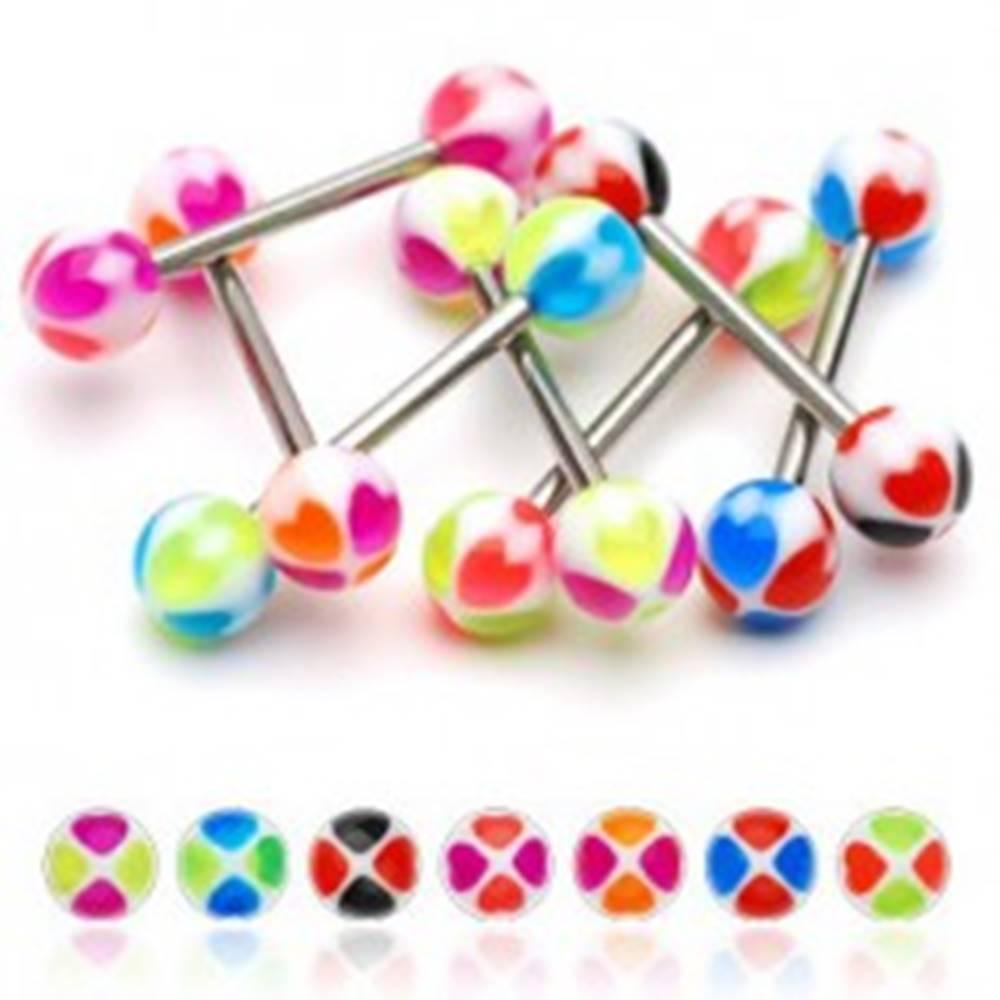 Šperky eshop Piercing do jazyka srdiečka - Farba piercing: Čierná - Červená