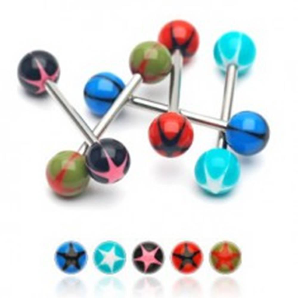 Šperky eshop Piercing do jazyka UV gulička s hviezdou - Farba piercing: Aqua