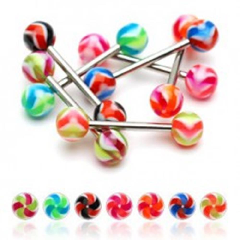 Šperky eshop Piercing do jazyka UV gulička - vrtuľka - Farba piercing: Čierná - Červená