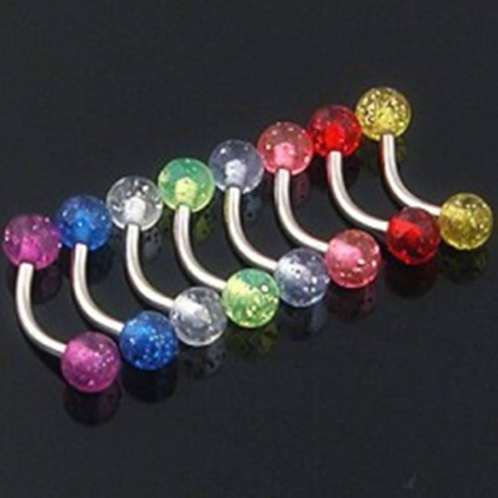 Šperky eshop Piercing do obočia - farebné glitrové guličky - Farba piercing: Červená