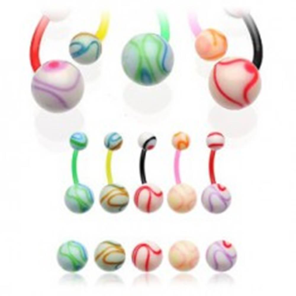 Šperky eshop Piercing do pupku farebná machuľa  - Farba piercing: Červená