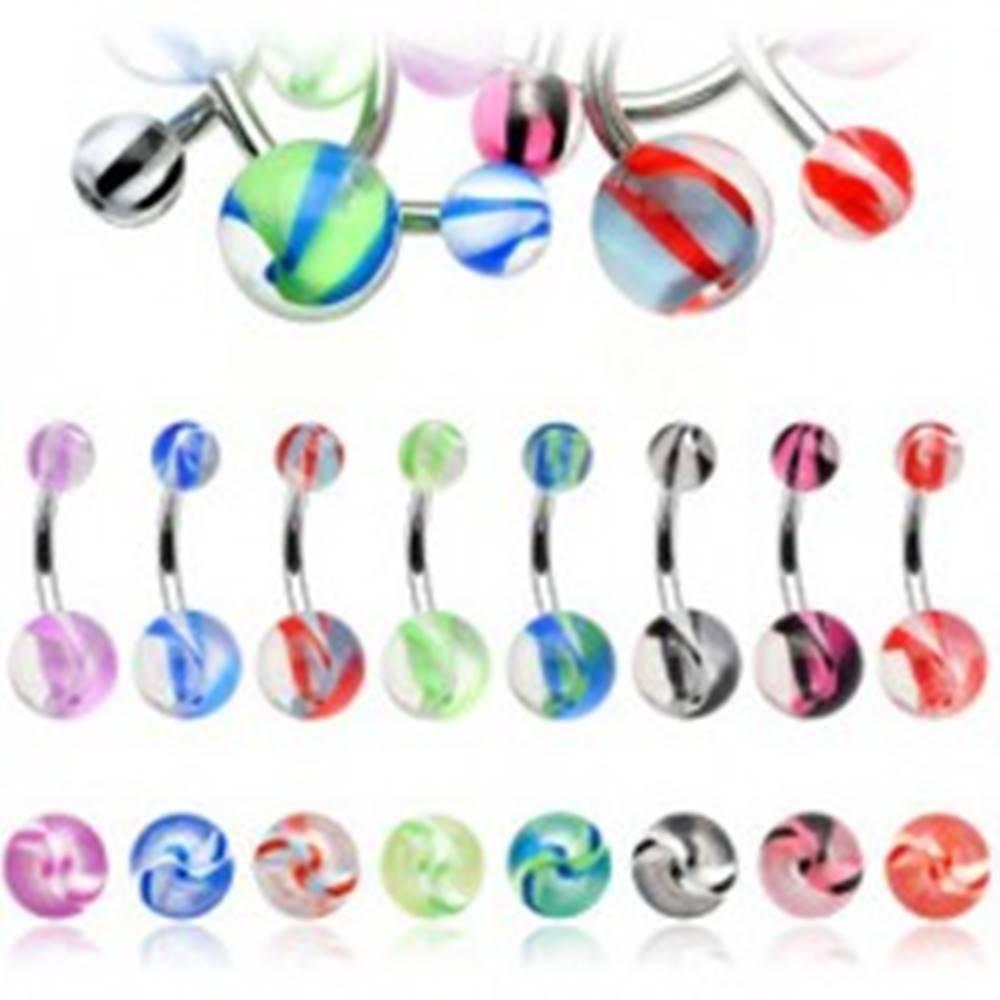 Šperky eshop Piercing do pupku farebné pruhy na guličke - Farba piercing: Červená