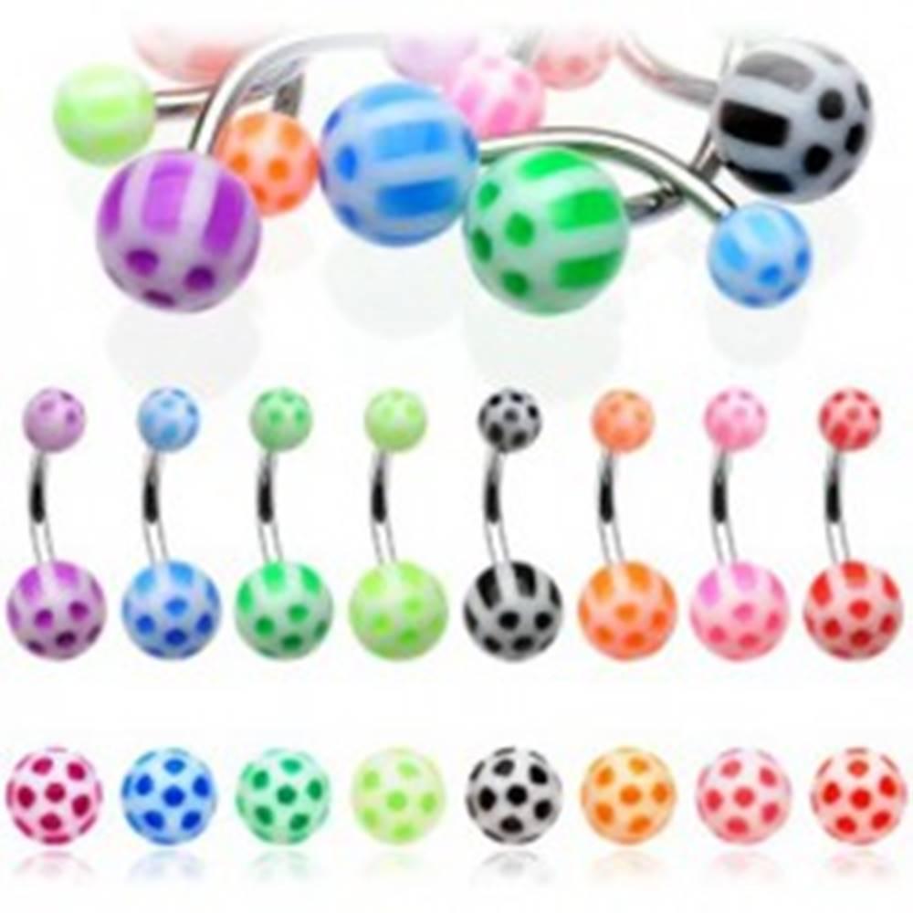Šperky eshop Piercing do pupku farebný kvietok z bodiek - Farba piercing: Červená