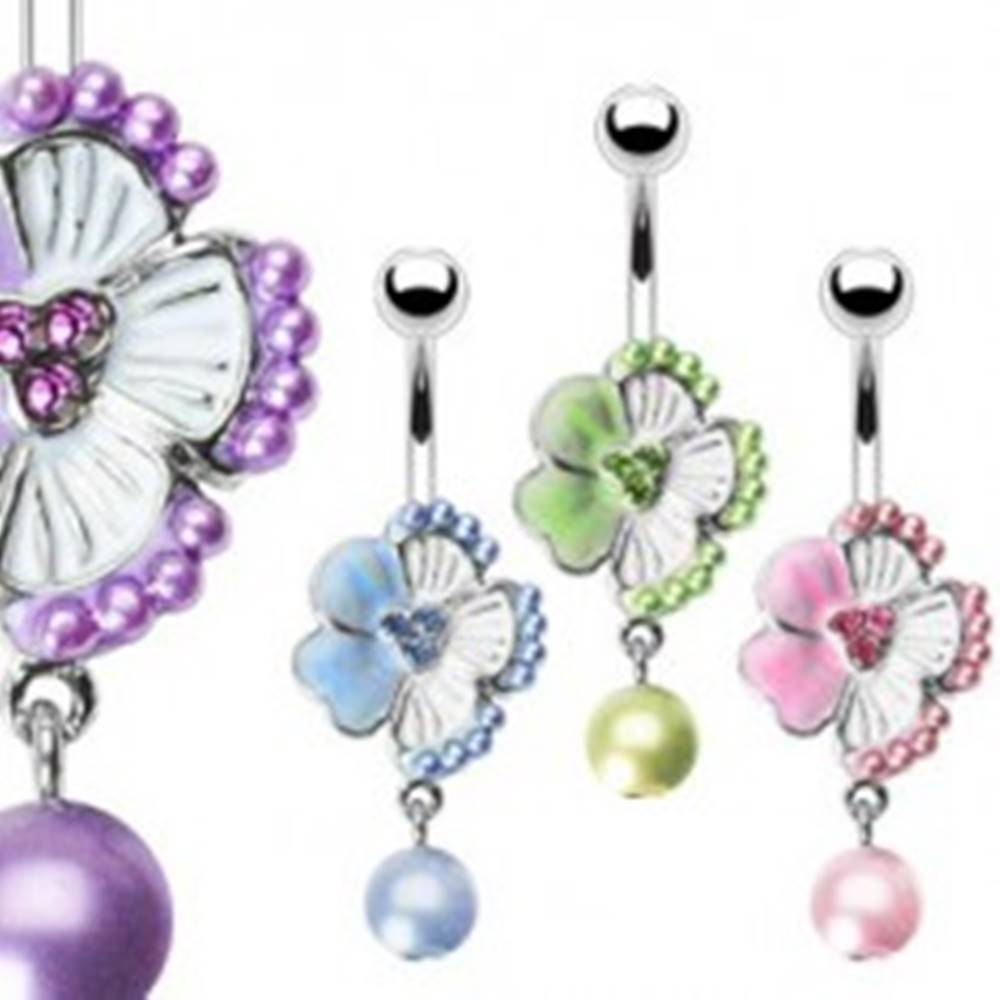 Šperky eshop Piercing do pupku kvietok so zirkónmi a korálik - Farba piercing: Fialová