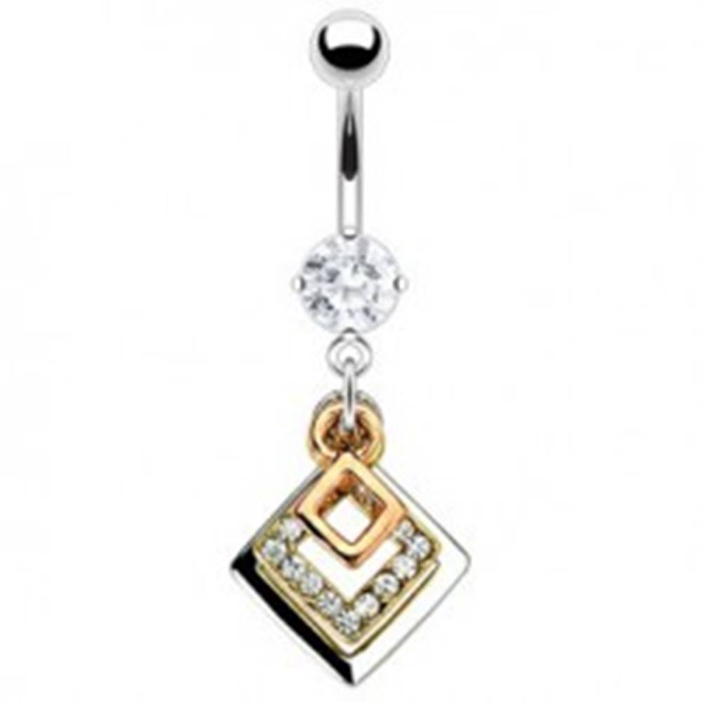 Šperky eshop Piercing do pupku tri štvorce