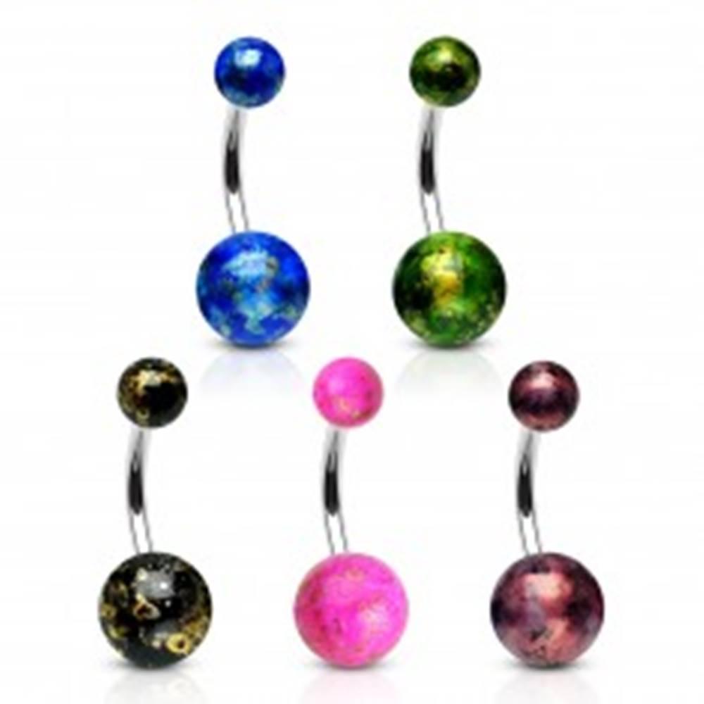 Šperky eshop Piercing do pupku z ocele 316L - farebné guličky so odleskami zlatej farby - Farba piercing: Čierna