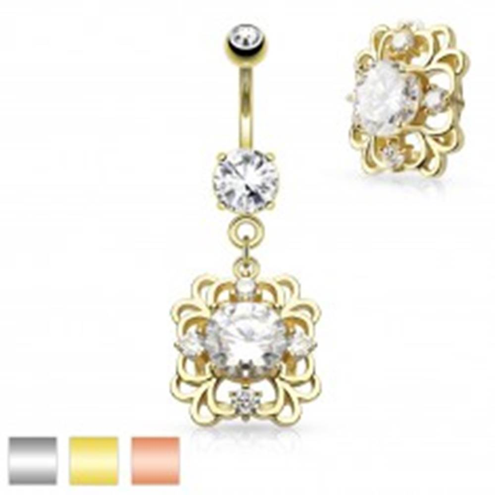 Šperky eshop Piercing do pupku z ocele 316L, filigránový obdĺžnik, brúsené číre zirkóny - Farba piercing: Medená