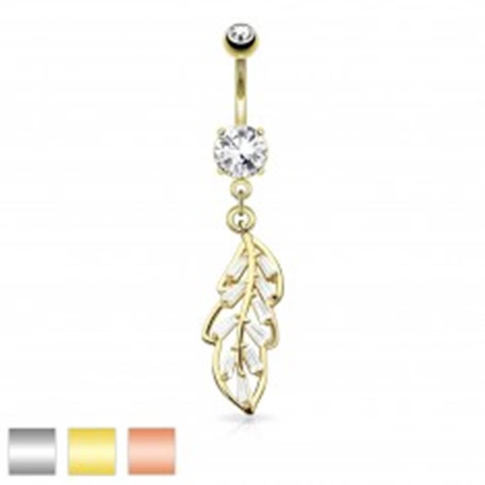 Šperky eshop Piercing do pupku z ocele 316L, list zdobený čírymi brúsenými lichobežníkmi - Farba piercing: Medená