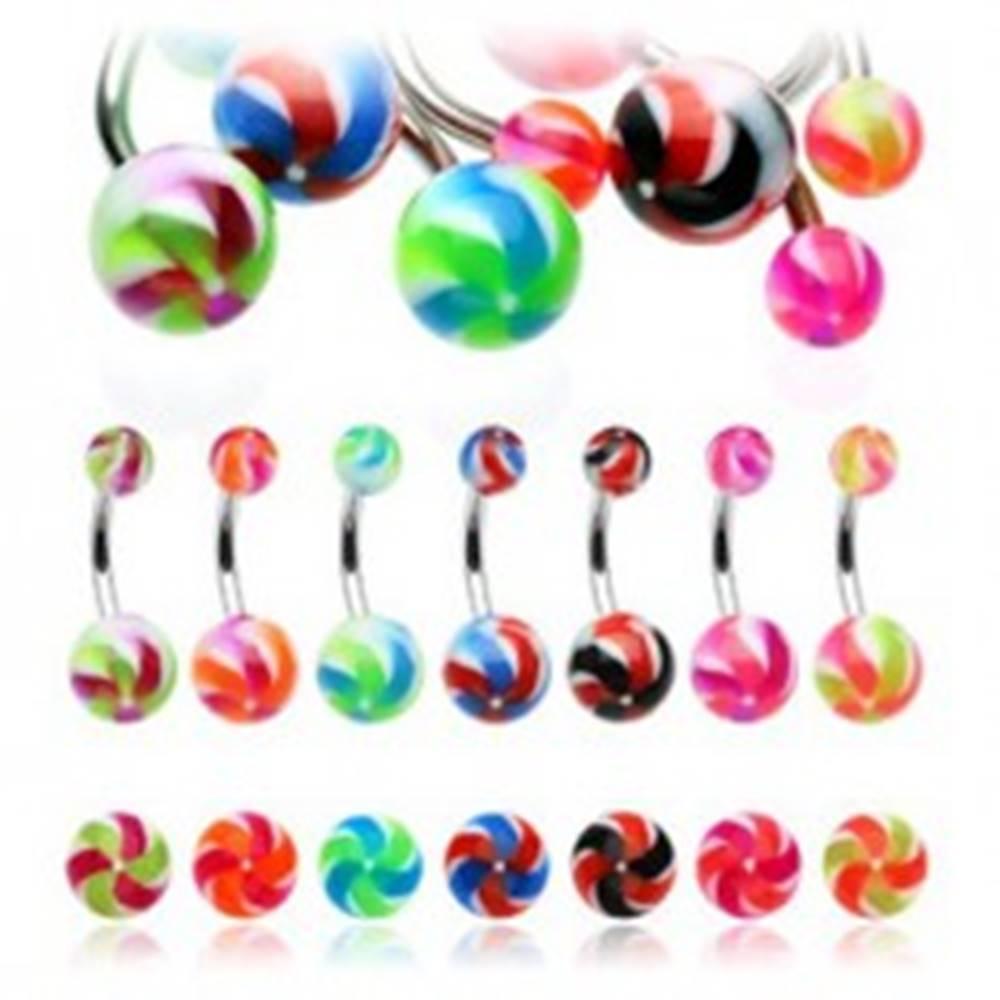 Šperky eshop Piercing do pupku z ocele - vrtuľka - Farba piercing: Čierná - Červená