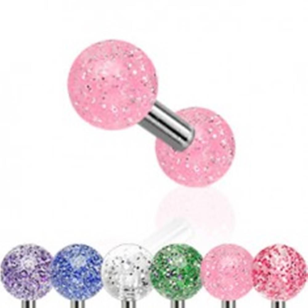 Šperky eshop Piercing do tragusu z ocele, farebné akrylové guličky s trblietkami - Farba piercing: Červená