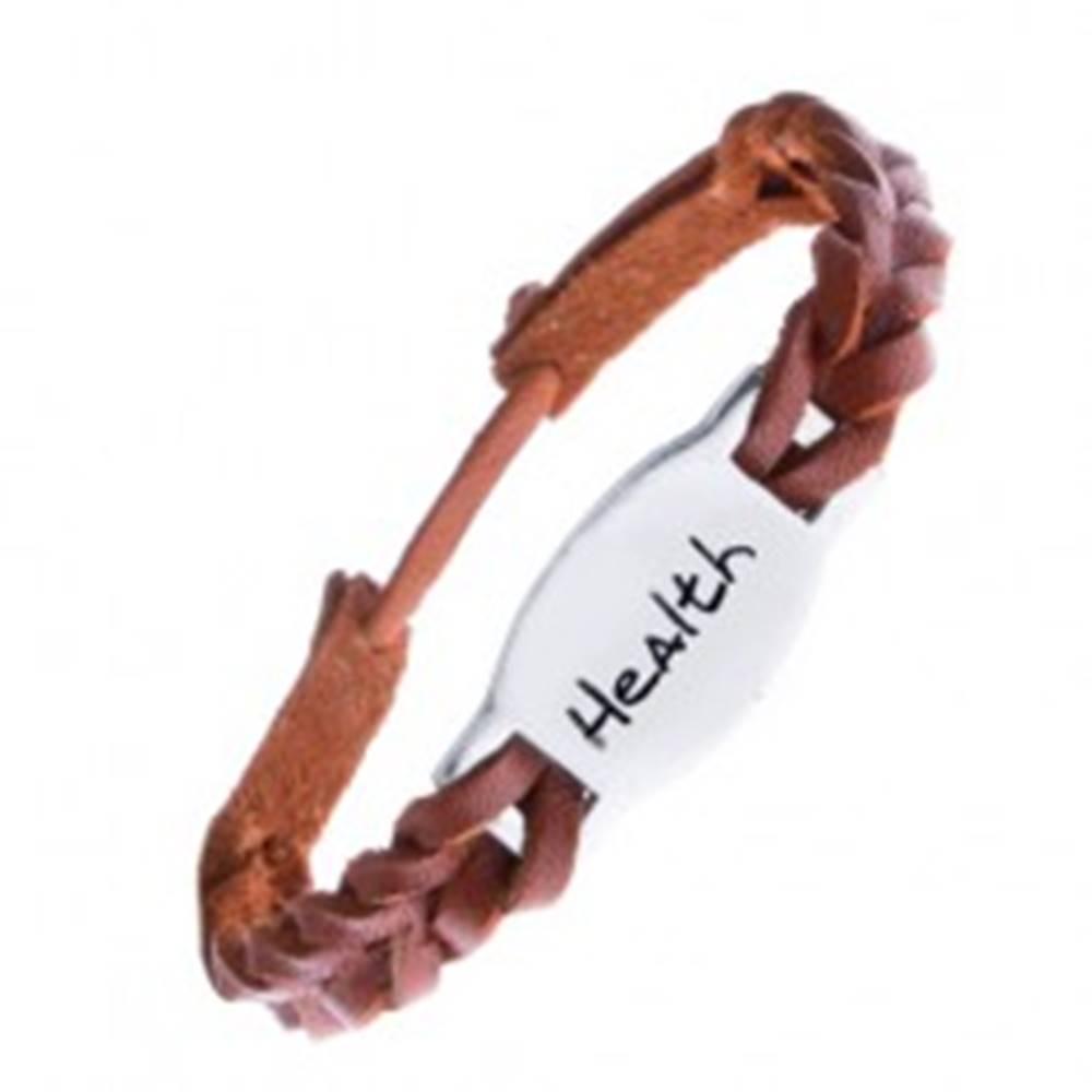 """Šperky eshop Pletený náramok z kože - hnedý, oceľová známka """"HEALTH"""""""