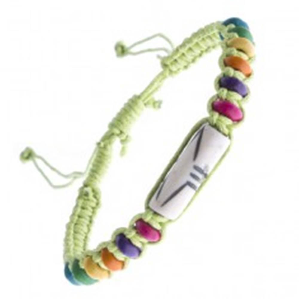 Šperky eshop Pletený náramok z motúzikov - zelený, lentilkové koráliky