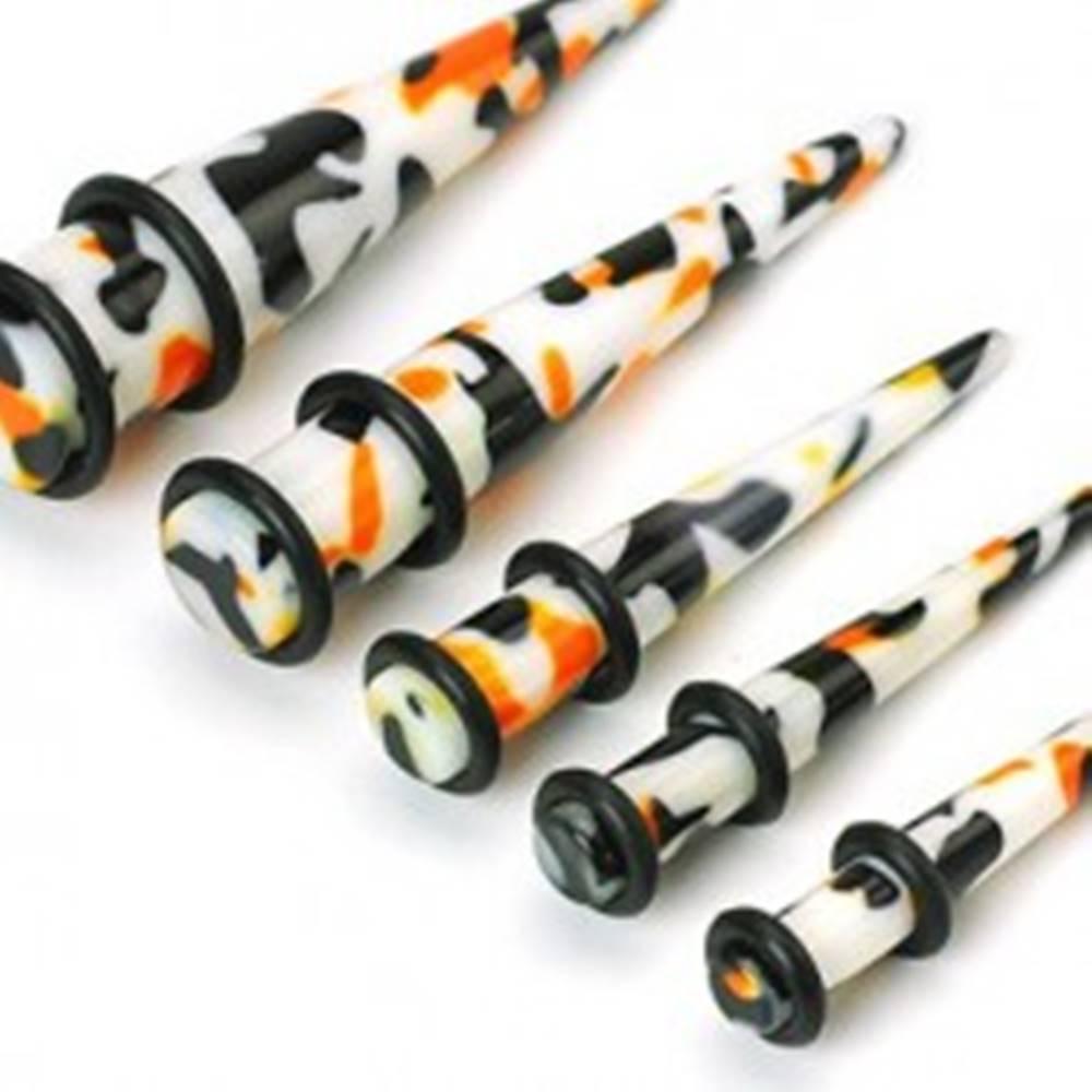 Šperky eshop Plug do ucha biely, čierno-oranžové škvrny - Hrúbka piercingu: 10 mm