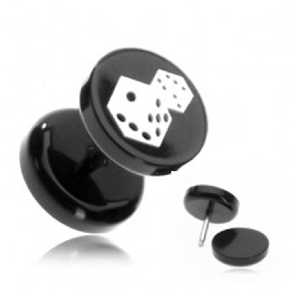 Šperky eshop Plug do ucha z akrylu - hracie kocky na čiernom koliesku