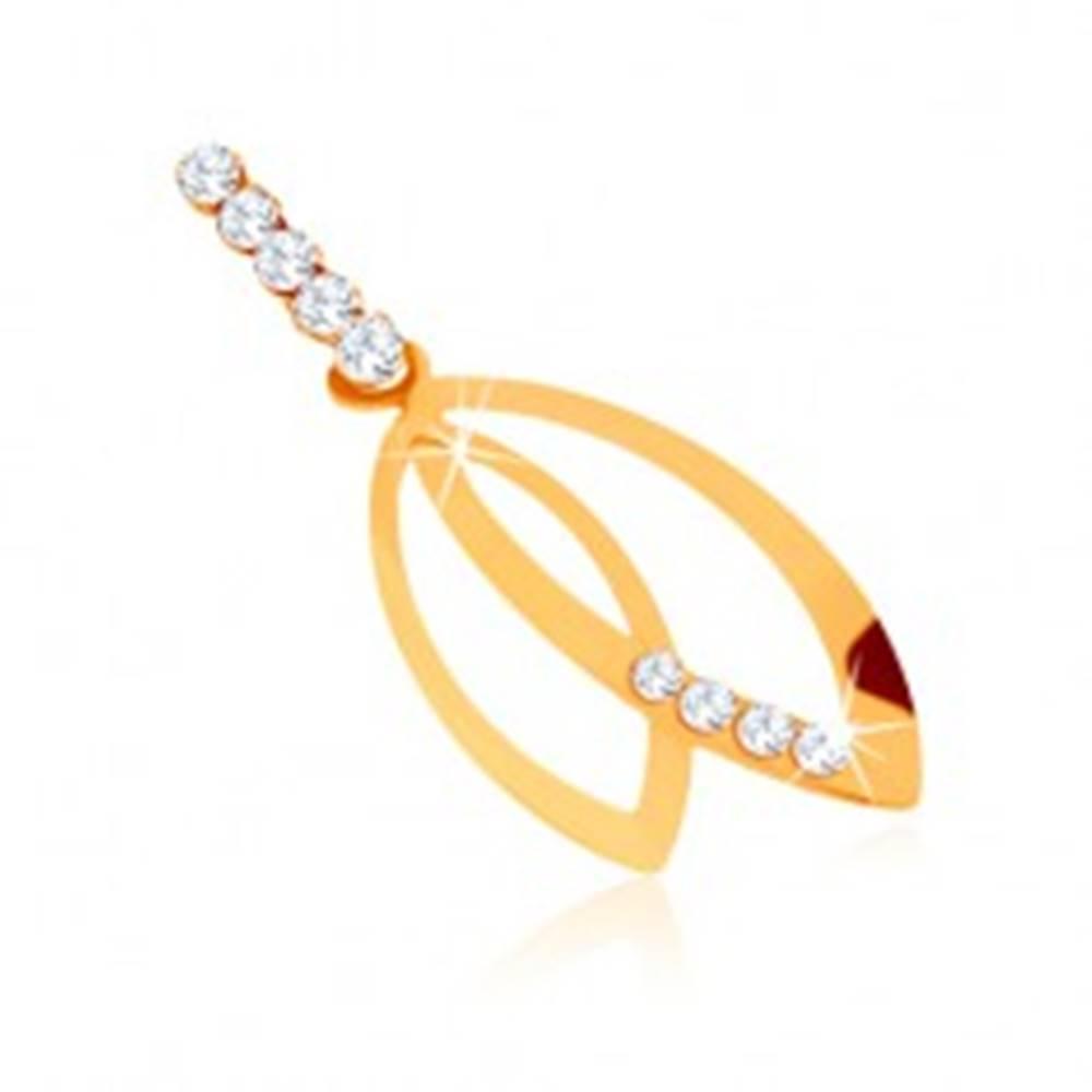 Šperky eshop Prívesok v žltom 9K zlate - kontúry dvoch zrniek, číre zirkónové línie