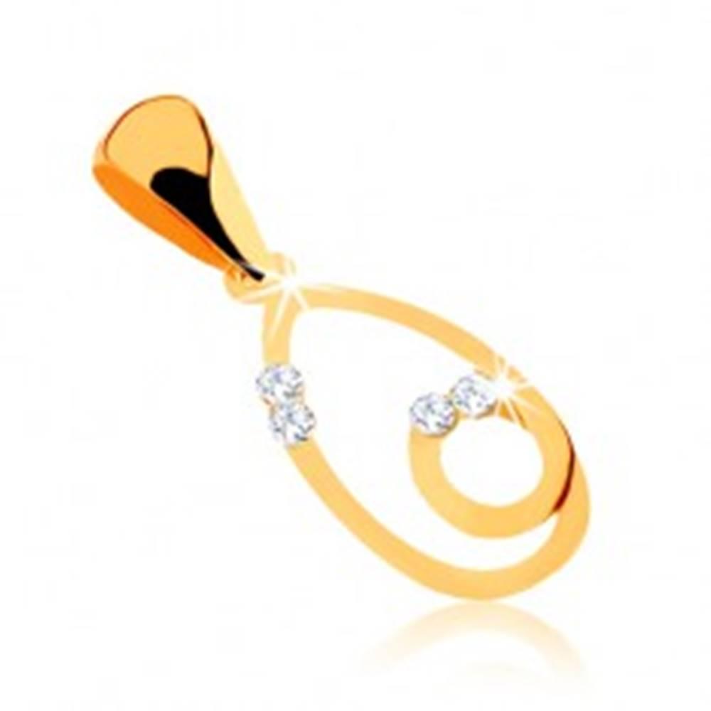 Šperky eshop Prívesok z 9K žltého zlata, obrys kvapky so slučkou, zirkóniky čírej farby